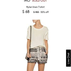 IRO Rylan White Linen T-Shirt Double Sleeve Small